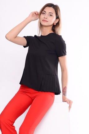 İroni Kadın Yarım Kol Kumaş Siyah Bluz 3989-903