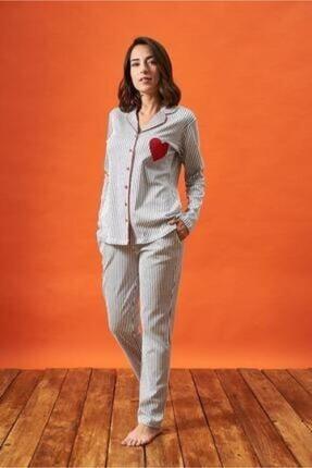 PJS PİJAMA Kadın Gri Düğmeli Çizgili Kalp Nakışlı Pijama Takım