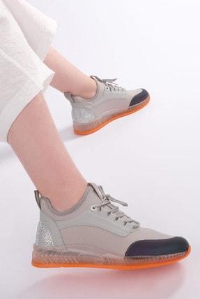 Marjin Kadın Gümüş Streç Sneaker Spor Ayakkabı Cunka