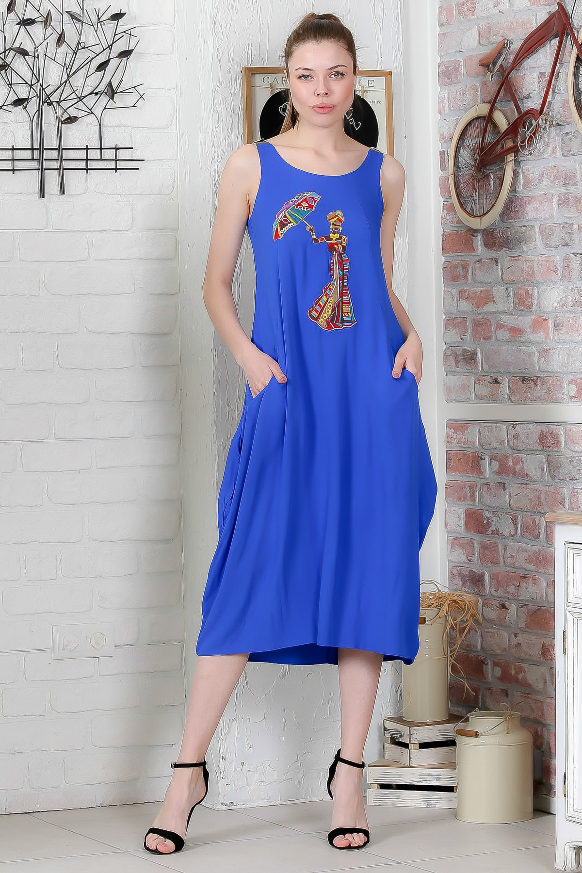 Chiccy Kadın Mavi Şemsiye Nakışlı Askıları Kemer Tokalı Cepli Dokuma Elbise M10160000EL95410