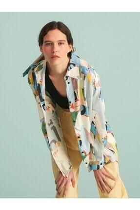 Nocturne Kadın Desenli Oversize Gömlek
