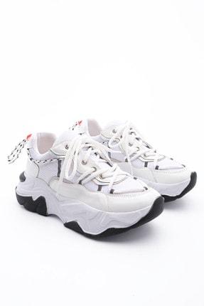 Marjin Kadın Beyaz Sneaker Dolgu Topuk Spor Ayakkabı Verina
