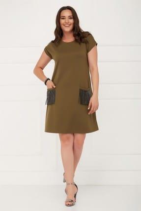 Seamoda Kadın Kısa Kol Cebi Taşlı Elbise Haki-Bb PRA-236673-785404
