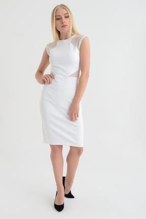 Hanna's Kadın Beyaz Transparan Detaylı Omuzları İnci İşlemeli Dar Elbise  Hn1684