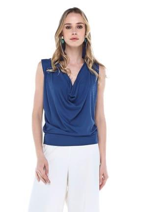 Quincey Kadın Mavi Degaje Bluz BDM2448