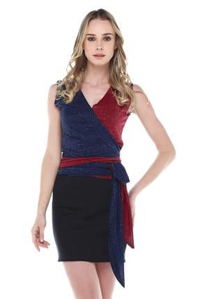 Quincey Kadın Bordo Lacivert Hafif Simli Anvelop Bluz BDT2483