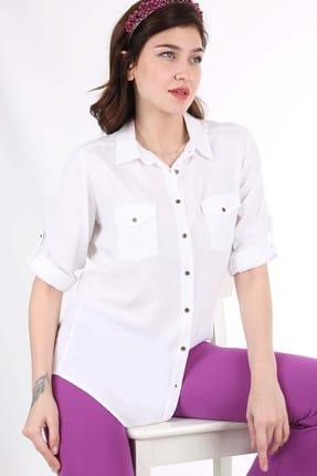 Bigdart Kadın Beyaz Çift Kapak Cepli Gömlek 3428BGD19_005