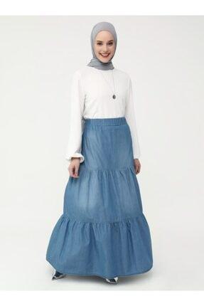 Refka Kadın Mavi Kumaş Beli Lastikli Casual Etek