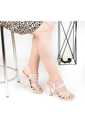 Pandora Kadın Bej Topuklu Günlük Sandalet