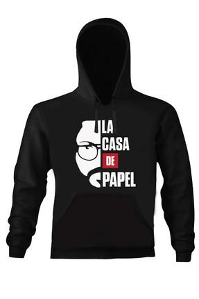 Art T-shirt Erkek Siyah La Casa De Papel El Profesor Unısex Kapüşonlu Sweatshirt ART018424M