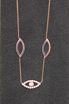 Bella Gloria Kadın Sosyete Gözü Rose Gümüş Kolye TGK0095