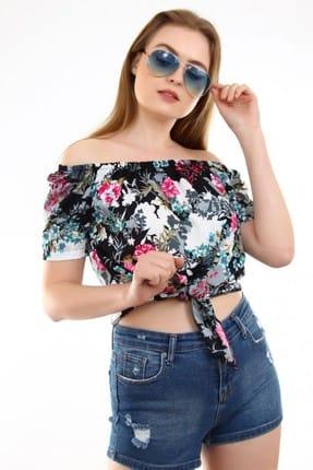Deppoist Kadın Siyah Çiçek Desen Bluz P00011734