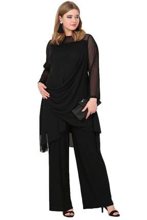 ANGELINO Kadın Siyah Abiye Pantolon-Tunik Takım KL7894