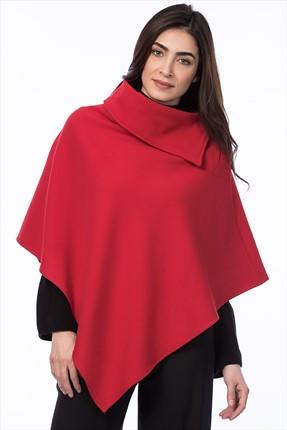 Pitti Kadın Kırmızı Kaşe Panço 70257..