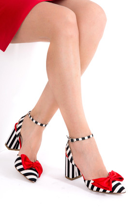 Fox Siyah Beyaz Kırmızı Kadın Topuklu Ayakkabı D654270704