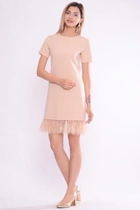 İroni Kadın Acık Bej Eteği Dantelli Elbise 5243-891