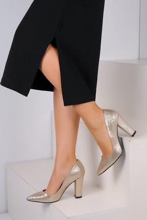 Pembe Potin Altın Sim Kadın Topuklu Ayakkabı A2000-19