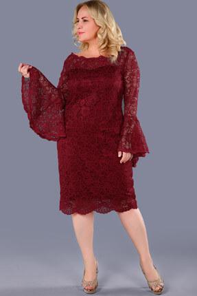Nesrinden Kadın Dantel İşlemeli Vişne Elbise ELB000138151