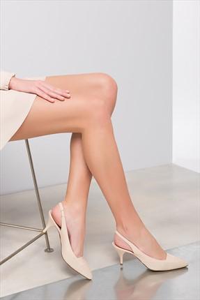 İnci Hakiki Deri Pembe Kadın Topuklu Ayakkabı 120120038011