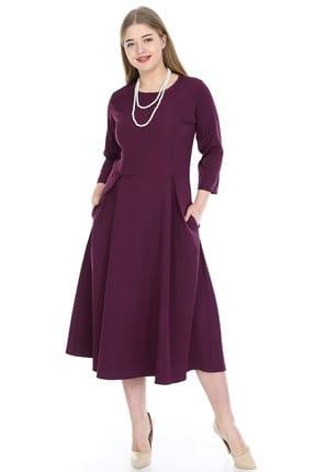ANGELINO Kadın Mor Cepli Elbise KL778