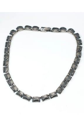 Nusret Takı Kadın 925 Ayar Gümüş Siyah Rodajlı Desenli Kolye TWGKL317