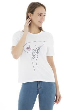 Only Kadın Ekru T-Shirt - 151814312