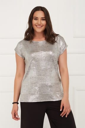 Seamoda Kadın Kısa Kol Sim Baskılı Tshirt Gri-Bb PRA-236685-533950
