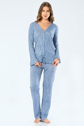 TÜREN Kadın Mavi Çizgili Uzun Kollu V Yaka Düğmeli Pijama Takım