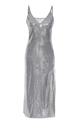 Keikei Kadın Gümüş Pul Payet Kolsuz Uzun Uzun Elbise