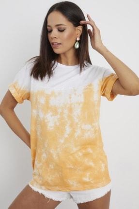 Cool & Sexy Kadın Hardal Batik T-Shirt AFŞ36