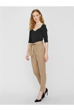 Vero Moda Kadın Kahverengi Vmeva Hr Loose Paperbag Pant Ga Color Pantolon