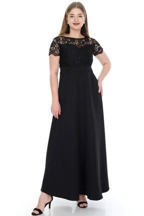 ANGELINO Kadın Siyah Uzun Abiye Dantelli Elbise KL802