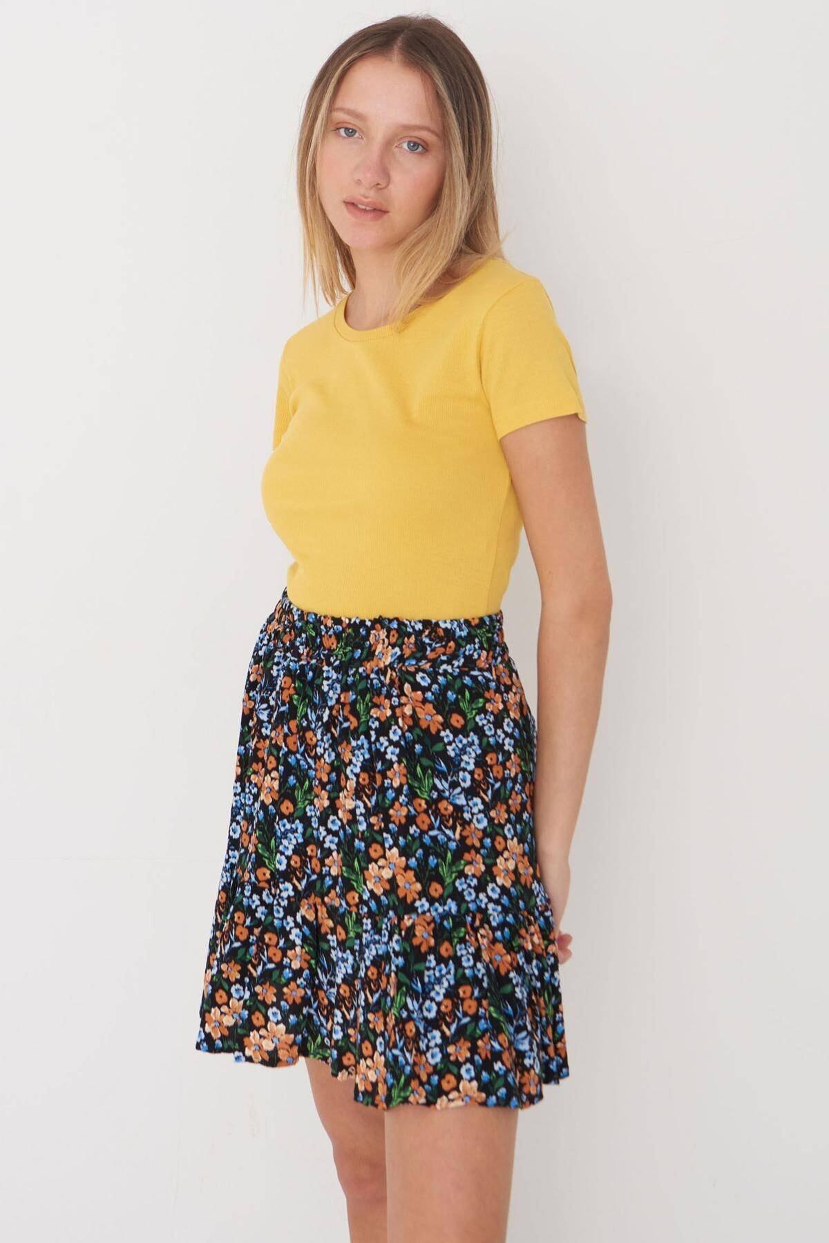 Addax Kadın Sarı Bisiklet Yaka Tişört P0258 - X2 Adx-00009795