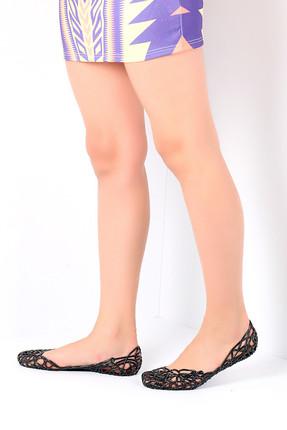 Pembe Potin Siyah Kadın Deniz Ayakkabı A800-17