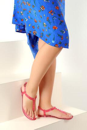 Pembe Potin Kırmızı Kadın Sandalet A1605-17