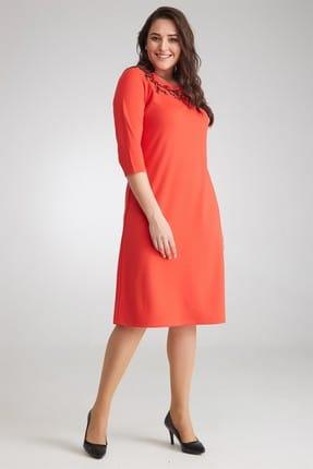 Seamoda Kadın Yakası Çiçek Nakışlı Elbise-Açık Kırmızı -Bb PRA-236265-621176