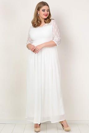 ANGELINO Kadın Beyaz Şifon Likralı Uzun Abiye Elbise KL4009K