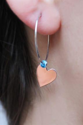 SilverPlus Kadın Kalpli Halka Gümüş Küpe AG1212