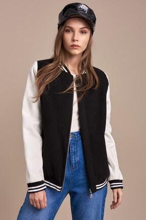 Pitti Kadın Siyah-beyaz Çift Renkli Mont 60315.