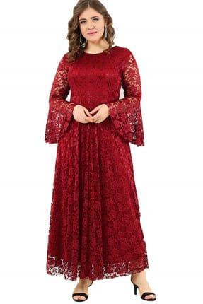 ANGELINO Kadın Bordo Kolları Volanlı Dantel Elbise DD791