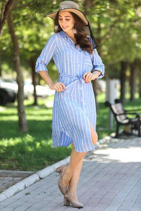 Nesrinden Kadın Kol Katlama Çizgili Tunik & Elbise