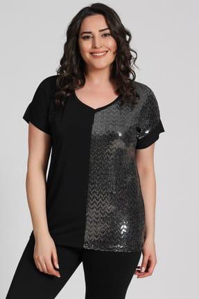 Seamoda Kadın V Yaka Gümüş Pul İşleme Bluz-Siyah-Bb PRA-236799-867554