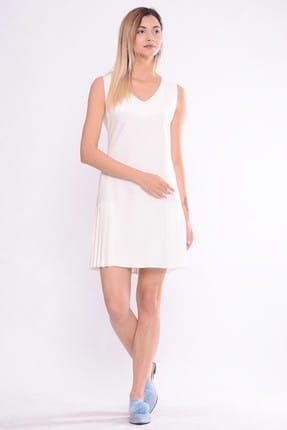 İroni Kadın Ekru V Yaka Kolsuz Pileli Elbise 5246-891