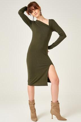 Boutiquen Kadın Haki Yakası Çapraz Yırtmaçlı Örme Elbise 11045