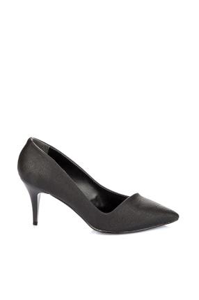 Pembe Potin Siyah Baskı Kadın Topuklu Ayakkabı A11901-17
