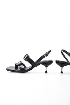 Marjin Kadın Siyah Parmak Arası Şeffaf Bantlı Topuklu Sandalet Yovlin