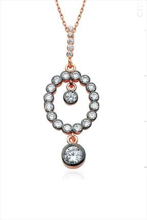 Bella Gloria Kadın 925 Ayar Gümüş Oval Tek Aşkım Kolye GK00278