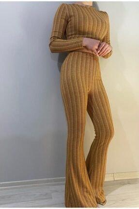Bsl Kadın Hardal Pantolon Büstiyer Takım