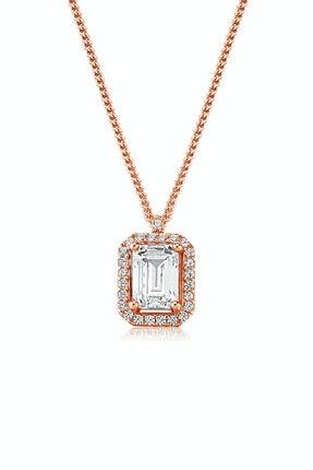 Valori Jewels Kadın Oktagon, 1 Karat Swarovski Zirkon Taşlı, Rose Gümüş Tektaş Kolye