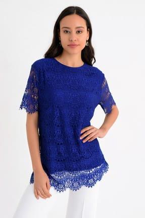 Hanna's Kadın Mavi Kısa Kollu Dantel Detaylı Bluz  Hn1634